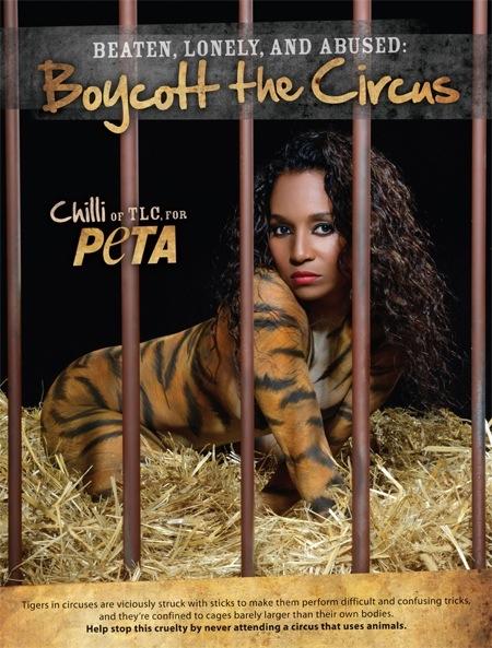 "Celeb Black Glamour Mom Rozonda ""Chilli"" Thomas Poses for PETA"