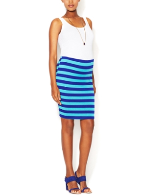 Nom Maternity Striped Blue Skirt