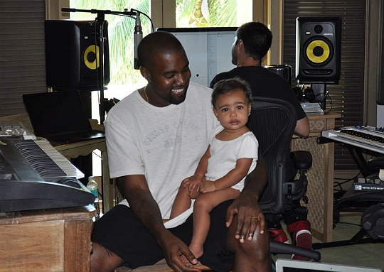 North West and Kanye in Studio