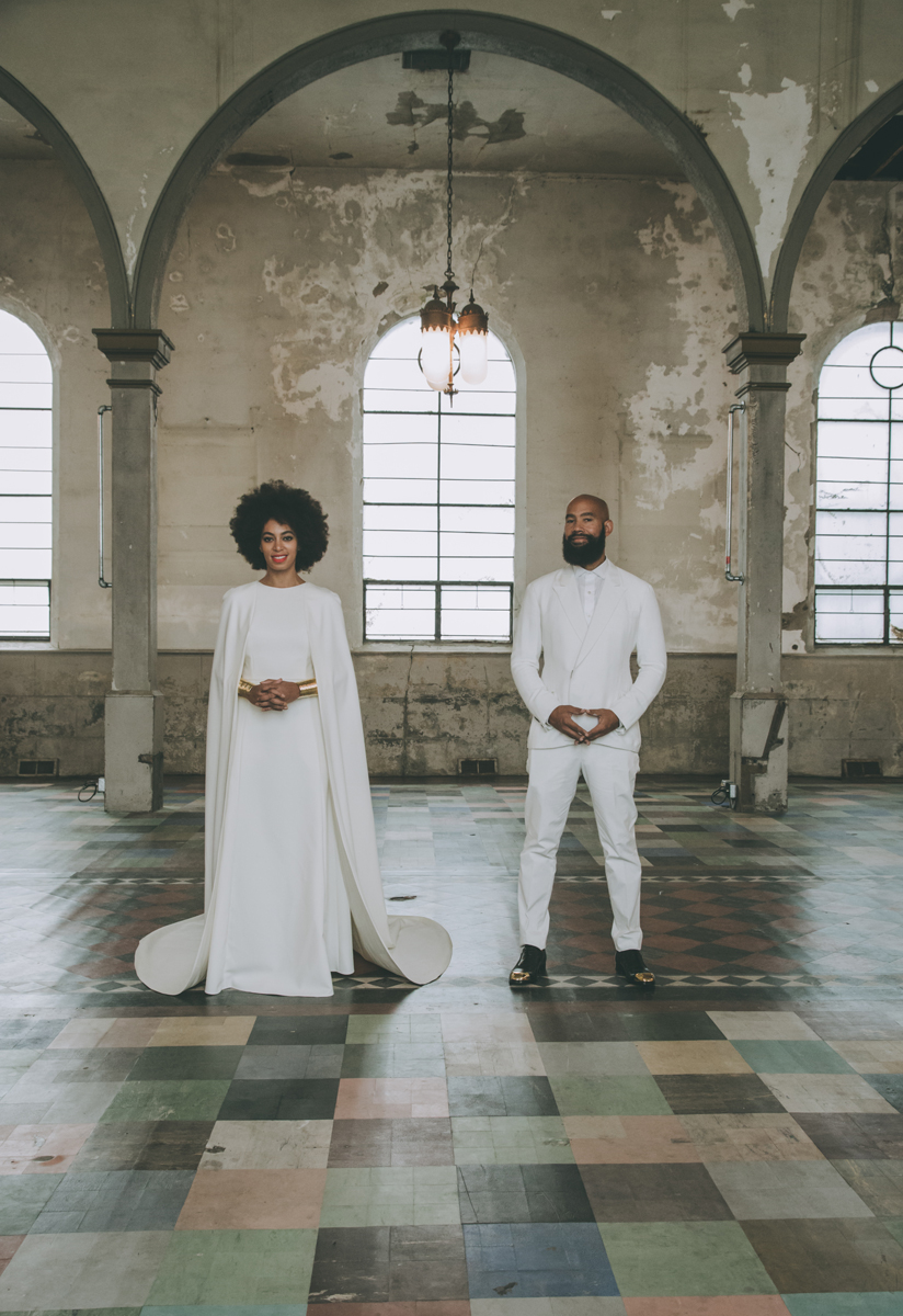 Solange Knowles Stuns During Wedding (Rocks Ivory Colored Jumpsuit and Cape)