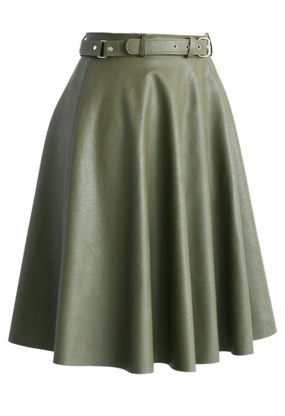 Faux Leather Belted Midi Skirt in Olive