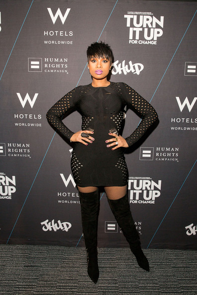 Jennifer Hudson and Boots and Dress
