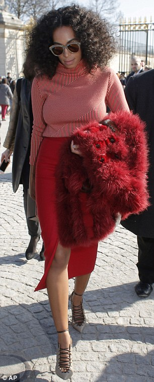 Paris Fashion Week Celeb News: Solange Wows in a Red Faux Fur Coat, Kim K. Goes Platinum
