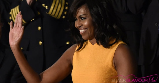 First Lady Michelle Obama Glams It Out in Marigold Narcisco Rodriguez Dress